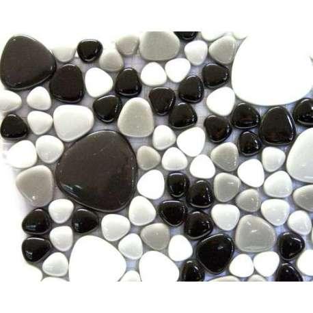 Galets blanc gris noir (verre teinté dans la masse)