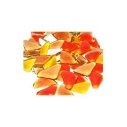 Galets de verre coloré orange rouge