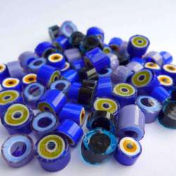 Millefiori mix semi transparent bleu noir violet