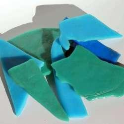 Chutes de plaques de smalt bleu turquoise et canard opaque et transparent (200 grs)