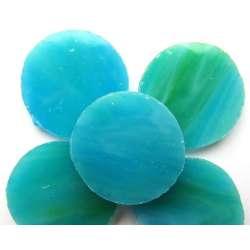 Cercles de verre 25 mm turquoise (5)
