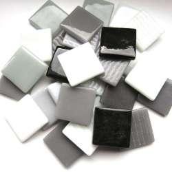 Pâte de verre espagnole camaïeu blanc, gris, noir
