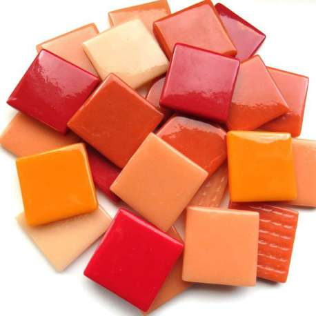 Pâte de verre espagnole camaïeu orange rouge