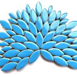 Ellipse grès émaillé 2 tailles couleur bleu