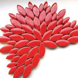Ellipse grès émaillé 2 tailles couleur rouge