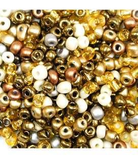 perles de rocaille or argent et blanc