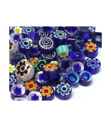 Millefiori mix translucide bleu