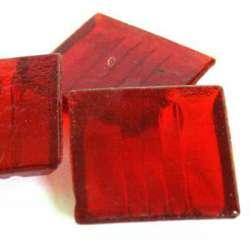 Pâte de verre mosaique transparente rouge