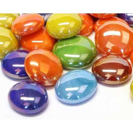 Billes plates multicolores irrisées