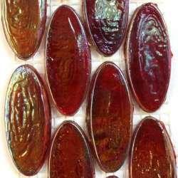 Calissons de verre irrisés bordeaux