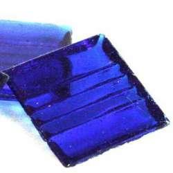 Pâte de verre mosaique transparente bleu fonce