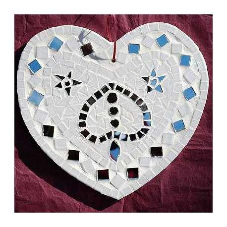 Kit mosaique coeur blanc