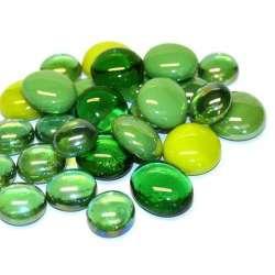 Harmonie billes plates de verre vert