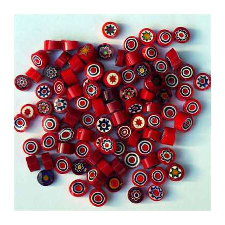 Millefiori opaque rouge