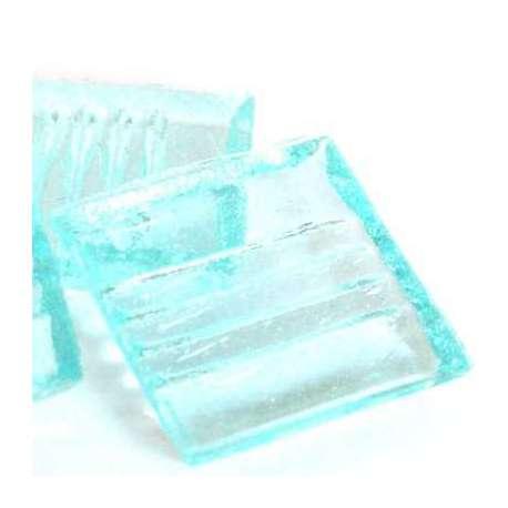 Pâte de verre mosaique transparente bleu glace