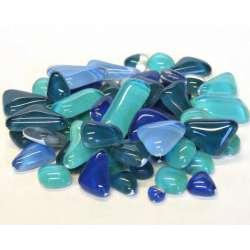 Galets de verre coloré sarcelle