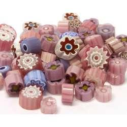 Millefiori mix translucide parme/rose