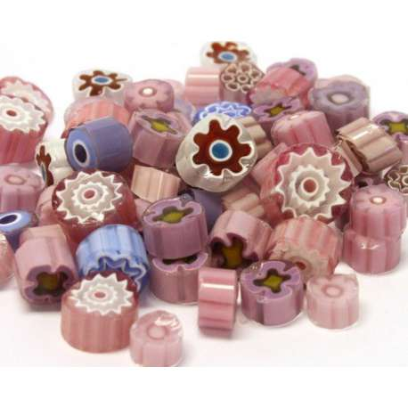 Millefiori translucide parme/rose