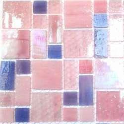 Rectangles et carrés de verre rose