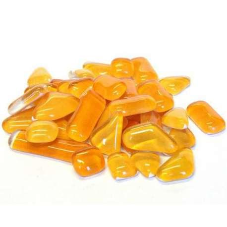 Galets de verre coloré jaune orangé