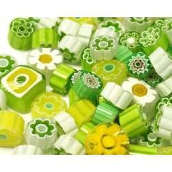 Millefiori translucide vert