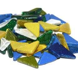 Mini galets pailletés vert, bleu, jaune