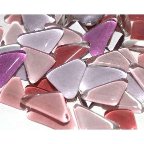 Galets de verre coloré rose