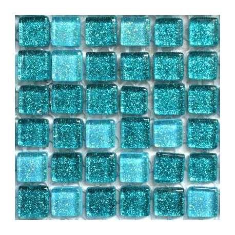 Micro mosaique pailletée couleur turquoise