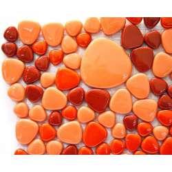 Galets rouge orange (verre teinté dans la masse)